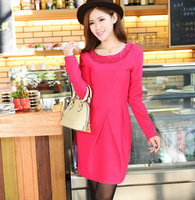 2013 autumn fashion women's paillette o-neck long-sleeve dress slim ol