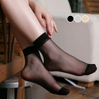 Summer women's candy color multicolour crystal short stockings ultra-thin transparent right, socks 1 double