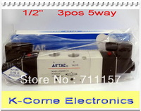 """EMS Free Shipping Double Coils 1/2"""" Inner Pilot Type 4V430C-15 Airtac Air Solenoid Valve Pneumatic Valves Voltage Optional"""