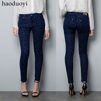 Women's pants autumn fashion blue leopard print legging fitting skinny pants casual pants