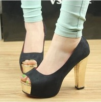Fashion sexy high-heeled shoes thick heel princess color block 2013 platform open toe shoe  women's shoes size 34-39