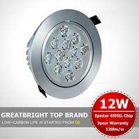 Wholesale 18pcs/lot 12W Ceiling downlight American bridgelux chip Recessed Spot light 85V-245V 110v 220v 240v dimming  indimming