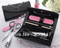50PCS/LOT+Little Black Purse Patent-Leather Five-Piece Manicure Set +Free shipping+ Wedding bridal shower favors