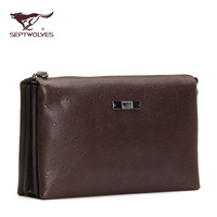 Septwolves male day clutch soft genuine leather clutch wrist length bag large capacity