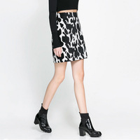 2013 Autumn and Winter Fashion Women Skirt Black and White Cow Printed Mini Skirt Slim Fit Size S M L Free Shipping
