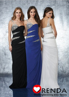 New Arrival 2013 Fashion One Shoulder Royal Blue Chiffon Black White Crystal Sequins See Through Tulle Evening Gowns Prom Dress
