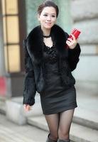Free Shipping ! 2013 faux rabbit fur fox outerwear short design rabbit fur fox fur collar outerwear