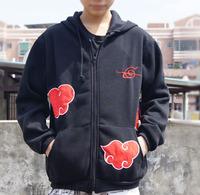 Anime Naruto Cosplay AKATSUKI Red Cloud Coat Hoodies Sweatshirts Free Shipping FS