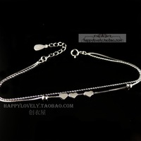 925 pure silver jewelry women's Women double layer chain small heart bracelet small fresh brief