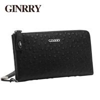 Ginrry ostrich grain cowhide male 2013 day clutch bag male zipper clutch fine man bag
