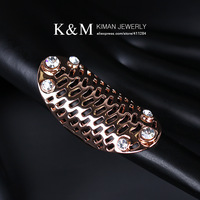(Min order $10) Rose gold plate ring rhinestone crystal finger ring for women Free shipping RI-00242