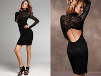 2013 New Arrival Fashion Women Long Sleeve Night Club Sexy Back Open Casual Lace Dress Long Sleeve Black M/L Size Free Shipping