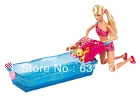 Free shipping mattel Original box  Color Swim and Race Pups Playset Doll,girl's gift ; Pink;12.8 inches Doll Figure 1 pcs