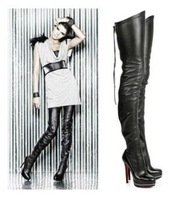 Stretch Zip Boots High Quality Genuine Leather Boots Zip Back Over The Knee Long Boot Womens Nightclub Shoes