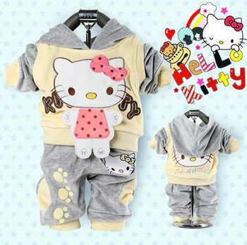 velvet Sport suits hoody jackets +pants  Children Girl's Hello Kitty clothing sets baby 3set/lot  free shipping