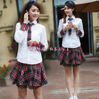 Preppy style women's shirt fashion preppystyle student uniform set female school uniform class service sailor suit