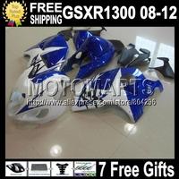 7gifts+NEW For SUZUKI Hayabusa GSXR1300 GSX-R1300 Blue GSX R1300 1548 GSXR 1300 08 09 10 11 12 12 Blue white  GSXR 1300 Fairing