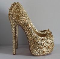 2013 women gold studded shoe spikes crystal heels red bottom platform pumps