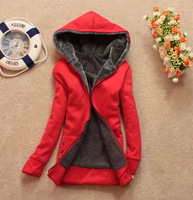 2013 New Lady Korean Winter Women Parkas With Hat Girls Warm Thicken Cotton Collar Jacket Cardigan Hoodies Outerwear