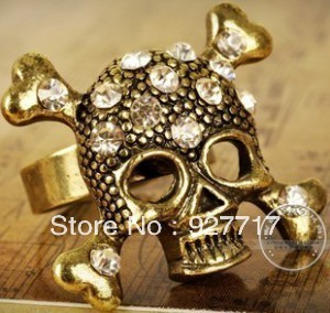 Personality bronze rock punk skull opening finger ring trendy jewelry