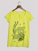 Numph autumn design pattern sandwiched fox short-sleeve round neck T-shirt women's