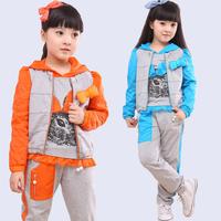 free shipping 2013 children's clothing medium-large female child autumn piece set child set autumn casual sports