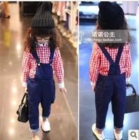free shipping Elegant classic plaid turn-down collar long-sleeve shirt child denim bib pants female child set