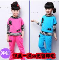 free shipping 2013 female child autumn child stripe three pieces set autumn children's clothing female child set