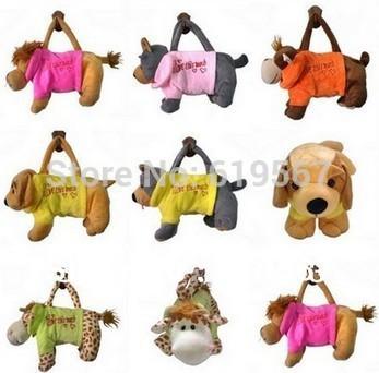 Animal Design Baby kids Boy Girl Plush Toys Soft Handbag Zipper Bag Pocket Gift