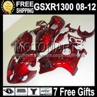 Dark Red black 7gifts For SUZUKI Hayabusa GSXR 1300 Red  08 09 10 11 12 1639 GSX R1300 GSX-R1300 GSXR1300 Fairings