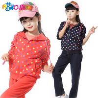 free shipping Female child autumn 2013 children's clothing casual sports baby child cardigan batwing shirt child set