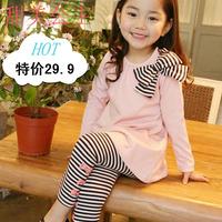 free shipping 2013 autumn children's clothing casual girls clothing set bow long-sleeve stripe set child set