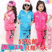 free shipping Female child autumn 2013 autumn child set autumn children's clothing velvet sports casual set
