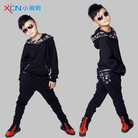 free shipping Male child set male child color block decoration sweatshirt health pants casual male child sports set