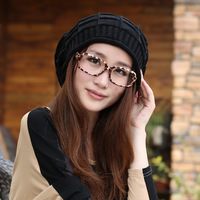 Autumn and winter women's pullover knitted plaid knitted hat