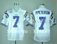 LSU Tigers #7 Patrick Peterson purple White jersey ncaa football jersey,embroidery logo,48-56,can, Soccer Uniforms free shipping