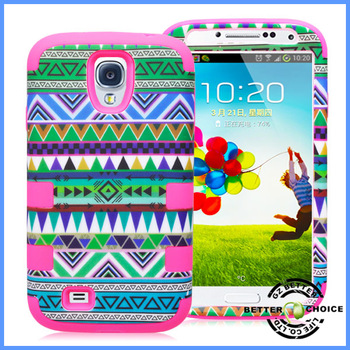 High Quality Wholesale Green Aztec Pattern Plastic Combo Silicone Shock Proof Hybrid Case Cover for Samsung Galaxy  S4 i9500