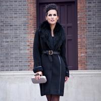 Zaal 2013 fashion women's luxury patchwork woolen outerwear elegant slim wool coat wool