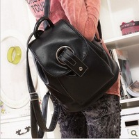 2013 korean style backpack brief PU casual backpack fashion school bag black pu leather free shipping