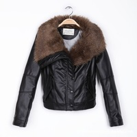 high quality fur collar winter warm PU leather jacket women coat fit slim detachable women's fur coat female jackets black