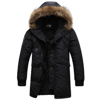 2013 autumn and winter men's brand wadded jacket with a hood large fur collar outerwear men's down jacket,men's winter jacket