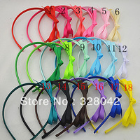 Trail order baby girl Grosgrain Ribbon bow hairband 18 colors bows  headbands hair accessory 36pcs/lot