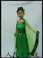 Tang suit hanfu green child costume