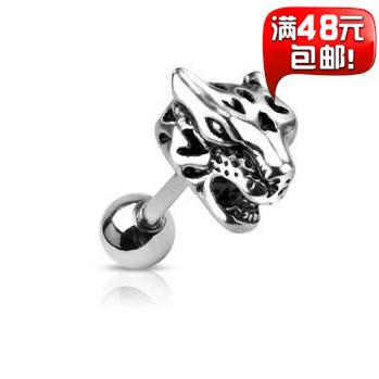 De aço inoxidável cabeça leopardo macho das mulheres parafuso prisioneiro de titânio brinco único suporte mistura Order(China (Mainland))