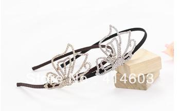 2013Free Shipping 6pcs/lot  High Quality Wegirl Butterfly Rhinestone Bridal Headband Best Wedding Jewelry/Accessories   DH138
