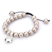 Free shipping hot selling Glass shell pearl style bracelet with heart charm good quality most popular fashion jewelry gray color