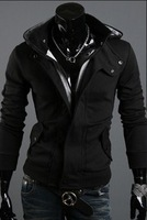Brushed casual hooded cardigan sweater jacket Men