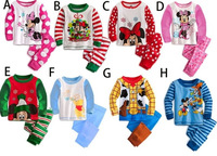 Retail 2013 Christmas Baby Clothing Set Autumn Girl`s & Boy`s Mickey Minnie T shirt+Pants Cartoon Pijamas Sleepwear Children