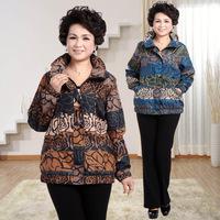 2014 autumn quinquagenarian women's casual print jacket plus size plus size outerwear
