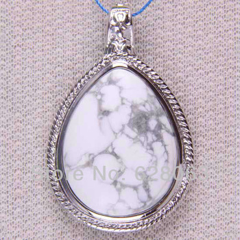 40x60MM White Turquoise Bead Pendant Jewelry Free shipping S079